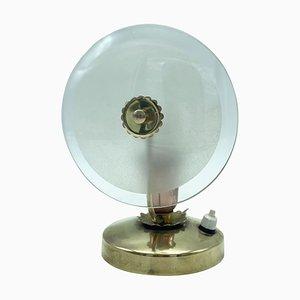 Lampada da comodino in ottone e vetro, Italia, anni '50