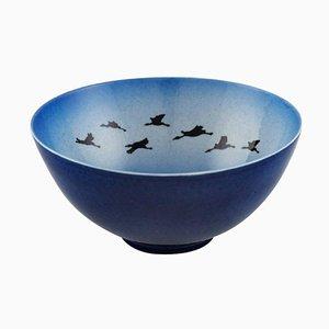 Schale aus Keramik mit Vögeln von Sven Wejsfelt für Gustavsberg Studiohand