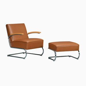 S411 Lounge Armchair + Ottoman Set from Thonet