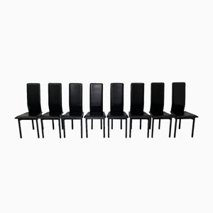 Leather Italian Pozzi Chairs, 1980s, Set of 8