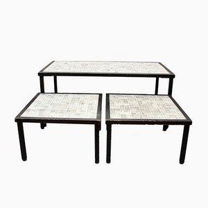 Französische Mid-Century Tische mit Fliesen, 1960er, 3er Set