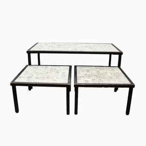 Mid-Century French Tiled Tables, 1960s, Set of 3