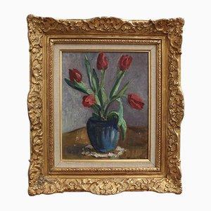 Vase mit Strauß roter Tulpen von Charles Kvapil, 1930er