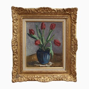 Vase with Bouquet of Red Tulips by Charles Kvapil, 1930s