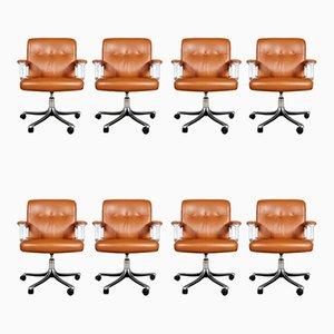 P128 Office Chairs by Osvaldo Borsani for Tecno, Italy, 1970s, Set of 8
