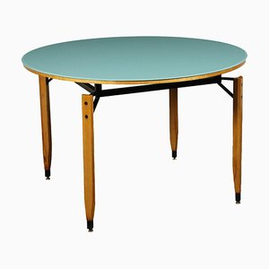 Beech Metal Back-Treated Glass Table by Roberto Aloi, Italy, 1960s