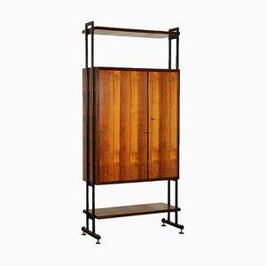 Mahogany Veneer and Brass Cabinet, Italy, 1950s
