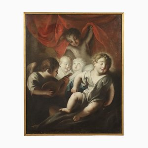 Jesus Child Asleep with Angels, Oil on Canvas