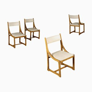 Beech and Leatherette Foam Chairs, Italy, 1960s