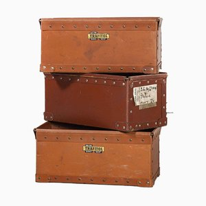 Low Industrial Storage Boxes, 1940s, Set of 3