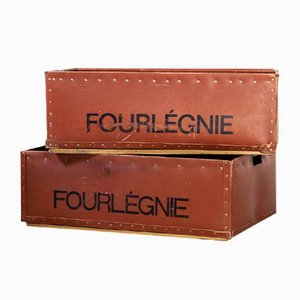 Low Industrial Storage Boxes, 1940s, Set of 2