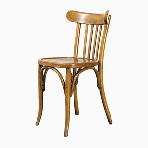 French Warm Oak Bentwood Dining Chairs, 1950s, Set of 6