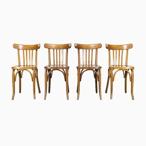 French Oak Bentwood Dining Chairs, 1950s, Set of 4