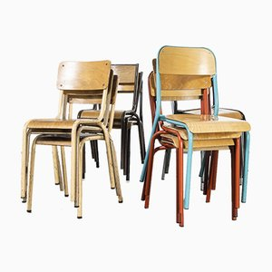 Mixed French Stacking School Chairs, Set of 13