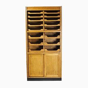 Tall English Haberdashery Shelved Cabinet, 1950s