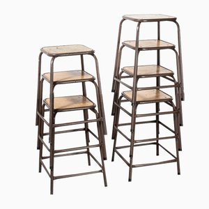 French Chocolate Brown Laboratory Stools, 1970s, Set of 7