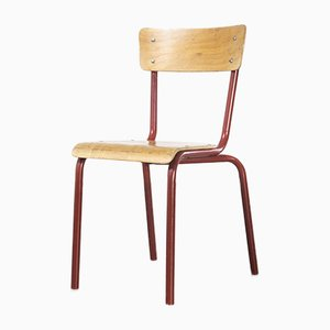 French Mullca Vintage Red Model 511 Dining Chairs, 1970s, Set of 4