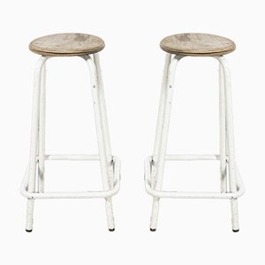 French Tall White Laboratory Stools, 1960s, Set of 2
