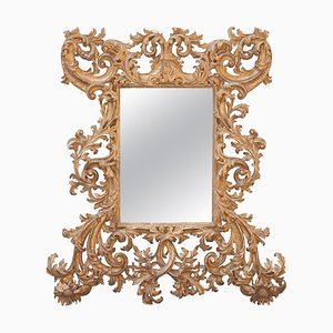 Chippendale Rectangular Handcrafted Gold Foil Wood Mirror, Spain, 1970s