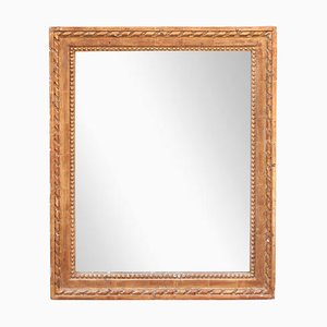 Neoclassical Empire Rectangular Gold Hand Carved Wooden Mirror, 1970s