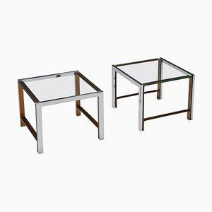 Mid-Century Regency Glass Top Side Table, Set of 2