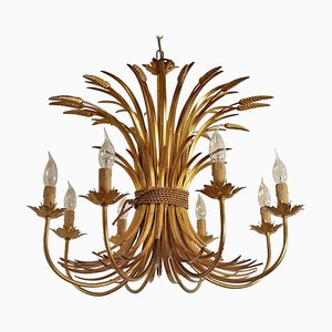 Midcentury 8-Arm Gilt Chandelier with Wheat and Leaves by Hans Kögl, 1960s
