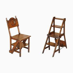Victorian English Oak Library Steps Chairs, 1880s, Set of 2