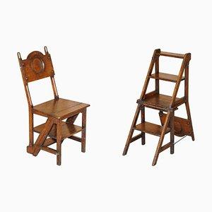 Viktorianische englische Bibliothek Steps Stühle aus Eiche, 1880er, 2er Set