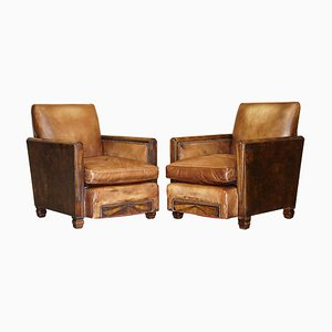 Antique Metropolitan Art Deco Hand Dyed Brown Leather Armchairs, 1920s, Set of 2