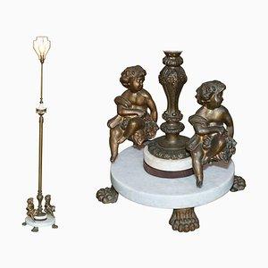 Marmor & Messing Stehlampe mit Engel Puttengel, 1920er