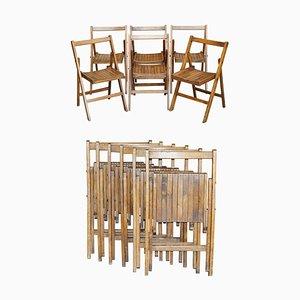 English Oak Folding Steamer Chairs, 1900-1920, Set of 6
