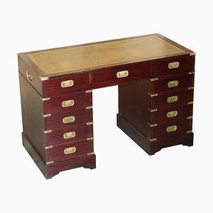 Vintage Hardwood & Green Leather Military Campaign Partners Pedestal Desk