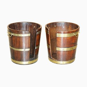 Large Plate or Pete Military Campaign Buckets, 1760s, Set of 2