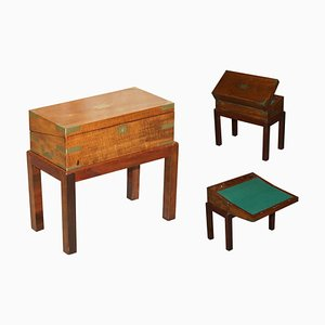 Victorian Hardwood Military Campaign Writing Slope Desk