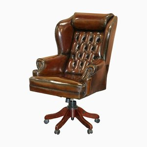 Hand Dyed President Brown Leather Directors Captain's Chair from Harrods