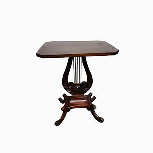 Antique Mahogany Lyre Side Table