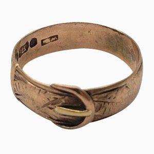 Antiker viktorianischer Ring mit Schließe aus 9kt Roségold