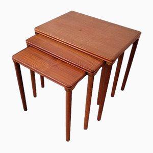 Tables Gigognes en Teck de Furniture Factory Toften, Danemark, Set de 3