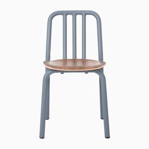 Blaugrauer Tube Stuhl mit Sitz aus Nussholz von Eugeni Quitllet für Mobles 114