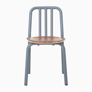 Blue-Grey Tube Chair with Walnut Seat by Eugeni Quitllet for Mobles 114