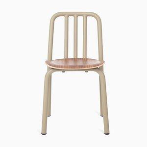 Olivgrüner Tube Chair mit Sitz aus Nussholz von Eugeni Quitllet für Mobles 114