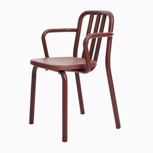 Chestnut-Brown Tube Armchair by Eugeni Quitllet for Mobles 114