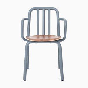 Blaugrauer Tube Sessel mit Sitz aus Nussholz von Eugeni Quitllet für Mobles 114