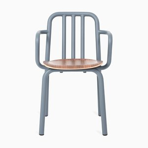 Blue Grey Tube Armchair with Walnut Seat by Eugeni Quitllet for Mobles 114