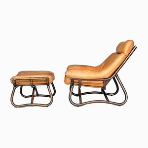 Leather and Bamboo Armchair with Ottoman, 1980s, Set of 2