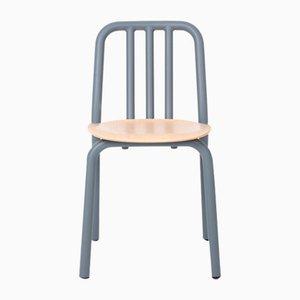 Blaugrauer Tube Stuhl mit Sitz aus Eiche von Eugeni Quitllet für Mobles 114