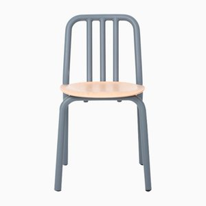 Blue-Grey Tube Chair with Oak Seat by Eugeni Quitllet for Mobles 114