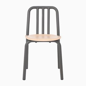 Anthracite Grey Tube Chair with Oak Seat by Eugeni Quitllet for Mobles 114