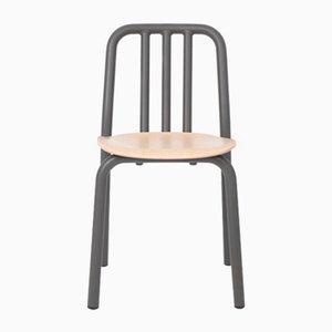 Anthrazitgrauer Tube Stuhl mit Sitz aus Eiche von Eugeni Quitllet für Mobles 114