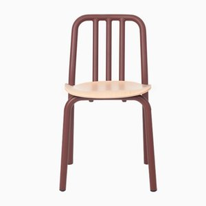 Chestnut Brown Tube Chair with Oak Seat by Eugeni Quitllet for Mobles 114